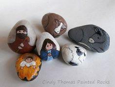 Nativity set painted on rocks