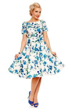 890af8ac1d8d1a Darlene Floral Roses Swing Dress in White/Blue