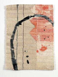 Aoyama Window Fragments by Matthew Harris, Dyed, cut and hand stitched cloth, approximately 33 x 40cm.