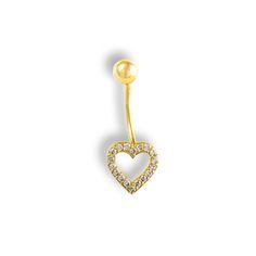"""Luxusní Zlatý piercing do pupíku """"SRDÍČKO Belly Button Rings, Piercings, Jewelry, Fashion, Peircings, Jewellery Making, Piercing, Jewlery, Jewelery"""
