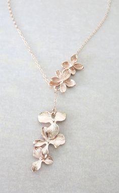 Rose Gold Triple Orchid Flower Lariat, Y Necklace - flower necklace, rose gold garden Wedding bridal bridesmaid necklace, best friend