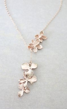 Rose Gold Triple Orchid Flower Lariat Y Necklace