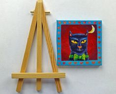Cat in a bow tie Witches cat. Original acrylic by MaureenMaceArt, £20.00