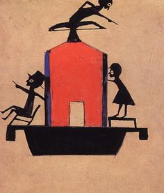 Bill Traylor: Three Figures on Red and Blue Houseboat, c. Poster paint and pencil on cardboard; 15 x 13 in. Outsider Art, Art Brut, Arte Popular, Black Artists, Illustrations, Book Illustration, Naive Art, Visionary Art, American Artists