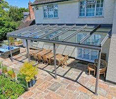 The durable aluminium supporting structure can support glass patio roofs of massive sizes to cover large patio areas allowing them to be useable well into the autumn months.