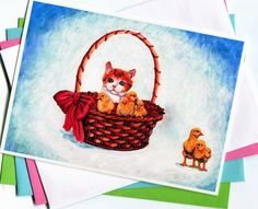 Spring Chicks Basket with Kitten Card 5x7 Art by MILESTOGOwithALI, $5.00
