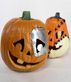 "In my Extreme Pumpkins II book I created a ""frankenpumpkin,"" a pumpkin stitched together with the pieces of a few different pumpkins and some metal and other parts. For more wild pumpkin-carving designs, pick up my latest book: Extreme Halloween.   - PopularMechanics.com"