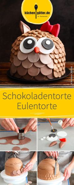 Zwei Tortenböden aus süßem Schokoladenteig, übereinander geschichtet mit feinster Buttercreme. In Form einer Eule und verziert mit köstlichem Fondant ist diese Motivtorte ein Hingucker auf jedem Fest.