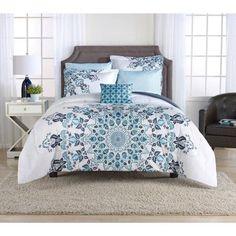 Mainstays Aqua Medallion Bed-in-a-Bag Bedding Set, Blue
