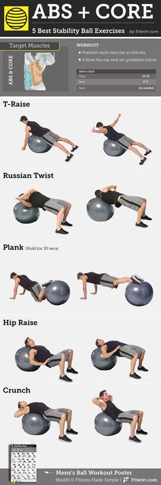 5 Best Abs and Core Exercises With a Stability Ball for Men Whether it's six-pack abs, gain muscle or weight loss, these workout plan is great for beginners men and women. with FREE WEEKENDS and No-Gym or equipment neede Fitness Workouts, Training Fitness, Yoga Fitness, Fitness Plan, Fat Workout, Ball Workouts, Fitness Hacks, Health Fitness, Strength Training