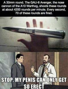 Erect Adult Humor, Humour, Gun Humor, Police Humor, A10 Warthog, Handgun, Firearms, Military Jokes, Army Memes