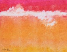Abstract Watercolor Painting  Tangerine Tie Dye by lauratrevey (etsy)