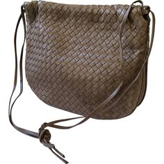 5dc5890a09 Bottega Veneta Taupe Intrecciato Woven Leather Shoulderbag