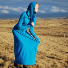 Maxi Dress Sustainable Fashion, Blue Organic Cotton Jersey, via Etsy.