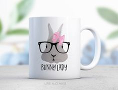 Rabbit Lover Gift - Bunny Lady - Gray - Cute Animal - Personalized Mug - Blue Bow - Valentines Gift for Her