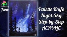 painting sky acrylic night step beginners canvas palette knife diy beginner
