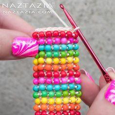 Crochet Boho Bead Bracelet – Bohemian Beaded Cuff – DIY Tutorial Free Pattern & … - new season bijouterie Crochet Beaded Bracelets, Beaded Bracelets Tutorial, Bead Crochet Rope, Beaded Bracelet Patterns, Seed Bead Bracelets, Beaded Crochet, Freeform Crochet, Diy Crochet, Bead Weaving