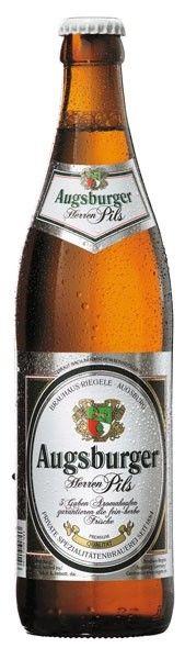 Cerveja Augsburger Herren Pils, estilo German Pilsner, produzida por Brauerei S.Riegele, Alemanha. 4.7% ABV de álcool.
