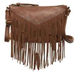 T-Shirt & Jeans Feather Fringe Crossbody (26 CAD) ❤ liked on Polyvore featuring bags, handbags, shoulder bags, cognac, brown crossbody purse, brown cross body purse, shoulder strap bag, brown fringe handbag and fringe purse