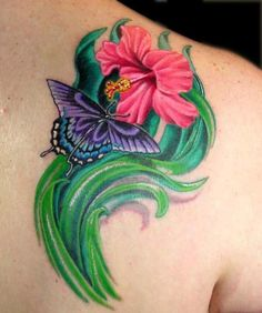 44 Best Hibiscus And Butterfly Tattoos Images Butterfly Tattoos