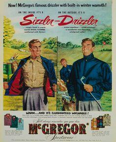 McGregor fashion vintage illustration advertisement for men's clothing, putting the legendary Drizzler jacket in the spotlight. #McGregor #Heritage #advertisement