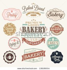 Like some of these but really don't care for the cupcake ones.    Vintage Retro Bakery Badges And Labels by Invisible Studio, via ShutterStock