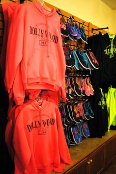 Colorful shoes and sweatshirts at the Emporium