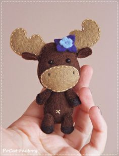 Felt Pocket Moose doll brooch keychain magnet totem plush