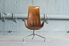 Brown high back leather desk chair