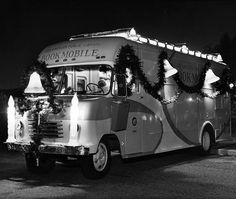"""Los Angeles Public Library #bookmobile decorated for the holiday season ca. 1955 #lapl #FlashbackFriday #laplphotos #laplhistory"""