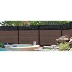 Veranda Euro Style 6 ft. x 6 ft. Lattice Top King Cedar Aluminum/Composite Horizontal Fence Section-EF 03401 - The Home Depot