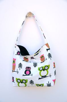 Hootie Owl Slouch Bag  Medium Sized Bag with by ShortcakeDesigns, $28.00