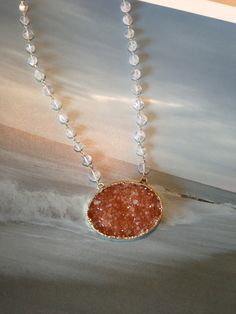 The oval druzy necklace makes an elegeant Valentine's gift.  #MickeyLynn