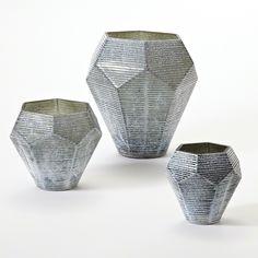 "Faceted Stria Vase-Grey-Lg 11""L x 11""W x 11.5""H Faceted Stria Vase-Grey-Med 8""L x 8""W x 7""H Faceted Stria Vase-Grey-Sm 6""L x 6""W x 5.75""H"