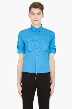 Lanvin Sky Blue Crinkled Cotton Shirt for men | SSENSE