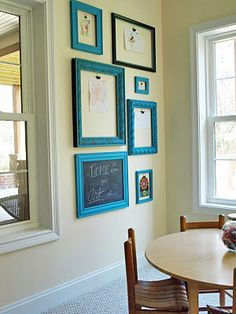 Great idea for kids artwork. Recycled frames and binder clips.