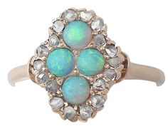 Antique Circa 1910 0.22Ct Opal and 0.30Ct Diamond, 14k Yellow Gold Dress Ring #Cocktail