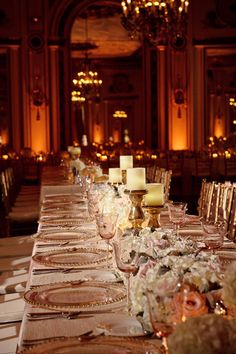 pink, cream & gold tablescape