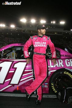 Brian Scott wore pink for sponsor Dollar General at Charlotte. (Jeff Robinson/NASCAR Illustrated)