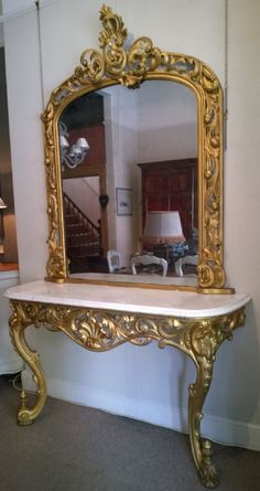 C.onsole table and mirror