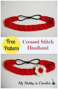 Crossed Stitch Headband with Flower Applique - Free Crochet Pattern: Written Instructions and Crochet Chart