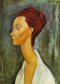 Amadeo Modigliani: Lunia Czechowska. 1919. Portraits of Modigliani Lunia Czechowska made, this, 1919, made a year before his death, with highly stylized neck like a parmigianino, clearly Mannerist style, which so influenced his works, flat color elegant boundary line, draw the outline ....