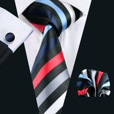 Colorful Striped Tie, Handkerchief and Cufflinks