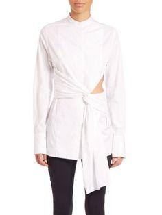 3.1 PHILLIP LIM Twist-Detail Cutout Cotton Blouse. #3.1philliplim #cloth #blouse