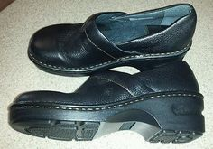 Womens Size 6 Born Comfort Concept Black Leather Upper Slip On Mules Clogs