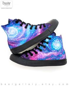 47b8bce981ef Custom Painted Galaxy Converse High Tops - Hand Painted Galaxy Shoes - Custom  Galaxy Shoes