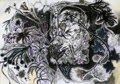 Massimiliano Fabbri / Colonizzazioni notturne e crescite circolari / 2013, collage, grafite, carboncino, china, penna biro, pastello a olio  e bomboletta spray su carta, cm 50x70