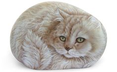 Custom Detailed Cat Portrait Hand Painted in Acrylic on a Sea Rock | Unique Pet Memorial Art by Roberto Rizzo