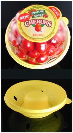 This cherry tomato packaging makes it look like you're getting a tub full of tomatoes but a look at the inside bowl reveals a rather prominent indent on the bottom. Rigatoni, Healthy Peanut Butter, Peanut Butter Cups, Moose Steak Recipe, Food Packaging, Product Packaging, Packaging Ideas, Vegetable Packaging