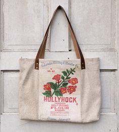 Vintage Hollyhock Flour Sack Tote   Women's Accessories   Hawks ...